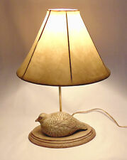 Quail Table Lamp by Guild Master with Shade / Unique Hand Carved / MADE in USA