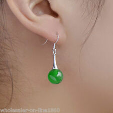 FASHION 100% SOLID 925 STERLING SILVER 10MM GREEN ROUND JADE DANGLE EARRINGS