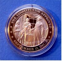 1787 U.S. CONSTITUTION Approved - FRANKLIN Mint SOLID BRONZE Medal Uncirculated