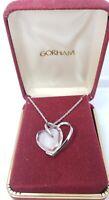 Fine Vintage Sterling Silver & Crystal Heart Gorham Necklace