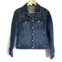 J Crew Womens Denim Jacket Blue Buttons Pockets Collared Stretch Long Sleeve XS