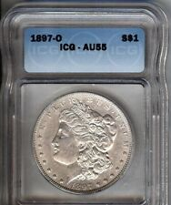 1897-O Morgan Silver $1- ICG AU55 - NICE TONING- LOOKS BETTER -