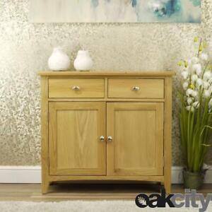 Oakland Modern Oak Sideboard   Small 2 Door 2 Drawer Cabinet   Light Wood Tone