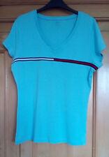 Tommy Hilfiger Ladies Light Blue V Neck Short Sleeve Cotton T Shirt, Large