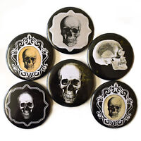 Gothic Skulls Fridge Magnets Set 6pc 55mm Goth Skeleton Round Spooky Decor Gift