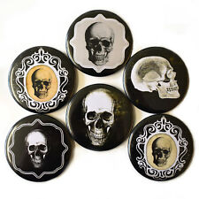 Gothic Skulls Fridge Magnets Set 6pc 55mm Skeleton Spooky Decor Gift