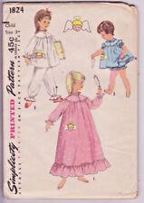 1824 SIMPLICITY c.1957 - PAJAMAS NIGHTGOWN PANTIES ANGEL Transfer - GIRLS Sz 3
