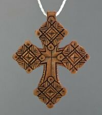New! Awesome Wood 00004000 en Handmade Neck Cross Ethnic Style + Leather Chain