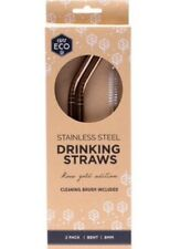 Ever Eco Plastic Free Rose Gold Stainless Steel Straws Bent 2 Pack + Brush