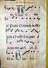 Huge flawed Antiphonary Manuscript Lf.Vellum,Unusual  D and G initials,ca.1500.