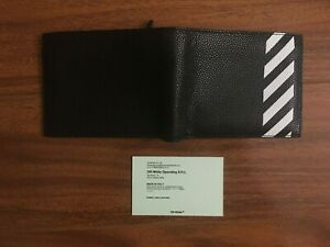 New Off White c/o Virgil Abloh Mr. Porter  Bi-Fold Black Genuine Leather Wallet