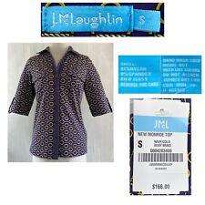 J McLAUGHLIN Women's Small NEW MONROE Top Navy/Gold Buoy Braid Catalina Cloth