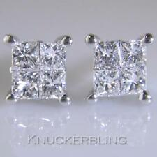 Diamond Cluster Stud Earrings 1.00ct Certified Princess Cut F VS 18ct White Gold