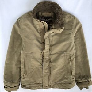 Abercrombie & Fitch Men's Large Adirondack Jacket Sherpa Fleece Lining Tan