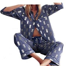 Victoria's Secret Pajama Silver Pineapple Blue Pants Shirt Set Extra Small XS