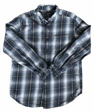 Eddie Bauer Men's Flannel Shirt Long Sleeve Blue Gray Plaid Cotton Meduim  UC000