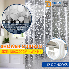 Waterproof Shower Curtain Semi Transparent Bathroom w/Hooks Heavy Duty 180x200cm