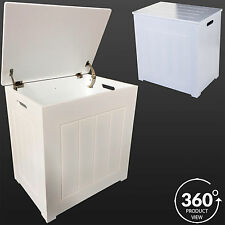 LARGE WIDE WOODEN LAUNDRY BASKET WHITE BATHROOM BEDROOM CLOTHES HAMPER WASHING