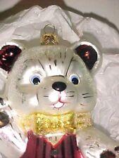 Christopher Radko,TUCKS  LG. HUGGY BEAR Glass Exclusive Ornament Teddy Tie Vest