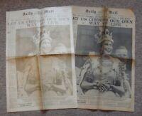 2 x Daily Mail – June 3rd 1953 – Original & Golden Reprint – Queen Coronation