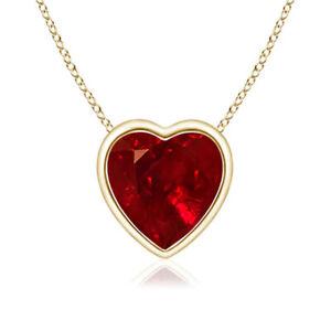 Solid 14k Gold Garnet Bezel Pendant Necklace Solitaire Heart necklace