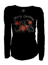 SALE Merry Christmas Bling Bling Poinsettia Rhinestone T-Shirt Long 4XL,US 18~20