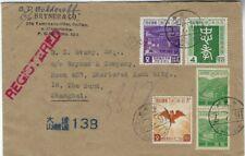Japan Manchuria China 1941 registred cover Dairen to Shanghai