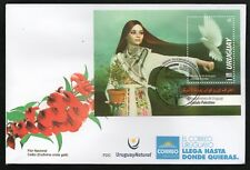 URUGUAY 2018 FDC (Palestina, Mujeres, Palomas, Pájaros, Vestimenta, Flora) X 10