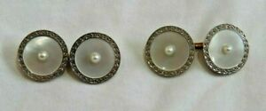 Antique 14K White & Yellow Gold with Mother of Pearl & Center Pearl Cufflinks
