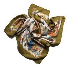 """GUCCI Floral Vintage Silk Scarf Square V.Accornero Print 70s RARE 34""""/33"""""""