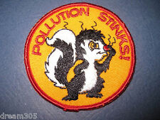 Hippie Ecology Hippy Patch Punk Vintage POLLUTION STINKS Patch - Skunk - Earth