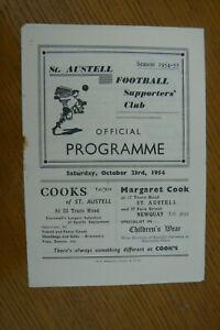 1954 ST. AUSTELL V PENZANCE PROGRAMME . S.W. LEAGUE CUP