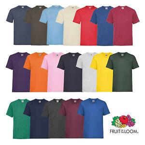Fruit of the Loom Plain T-Shirt Men's Women's 100% Cotton Tee Short Sleeve Top