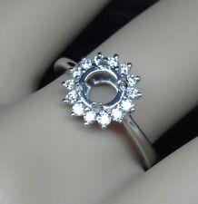 6.5mm Round 18k White Gold Natural Diamond Engagement Semi Mount Setting Ring