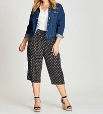 Plus Size Black Printed Crop Pants  With Elastic Waist On The Back Size 16