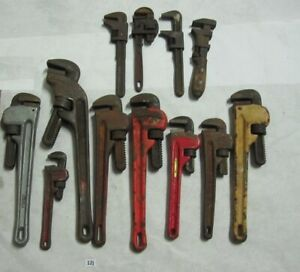 Lot 12 VARIOUS Monkey Pipe Wrenches Ridgid Crescent The NYE Bock 14 10