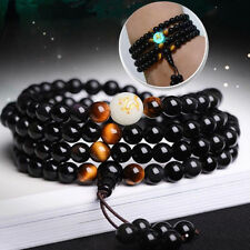 Luminous Dragon Mala Bracelet Yoga Black Onyx Men Women 108 Buddha Beads