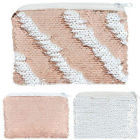Rose Gold & White Reversible Sequin Fabric Girls Designer Coin Purse Bag Wallet