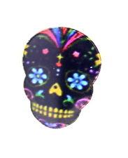 Vintage retro biker style enamel flower skull pin / brooch