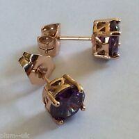 Classic round purple sapphire 7mm (18k ROSE GOLD GF) stud earrings Plum UK BOXED
