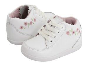 Stride Rite Classic White Leather Walking Shoes Emilia Infants Size 6 M