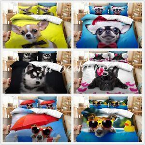 Animal Dog 3D Printed Bedding Set 2/3PCS Duvet Cover & Pillowcase(s) Gift AU2F