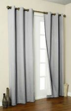 2 PANELS GROMMET FAUX SILK WINDOW CURTAINS DRAPE FOAM LINED BLACKOUT THERMAL 108