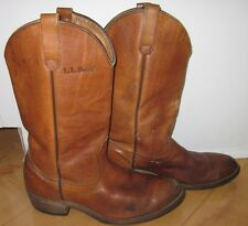L L Bean Vintage Mens Brown Tan Leather Cowboy Western Boots 10 D