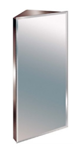 60cm Stainless  Steel Mirror Bathroom Corner Cabinet Bevelled Edge Reversible