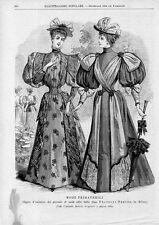Stampa antica MODA PRIMAVERILE donne con abiti eleganti 1893 Old print fashion