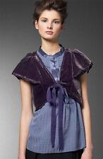MARC JACOBS purple velvet shrug bolero cape wrap dress jacket silk top 2$278 NWT