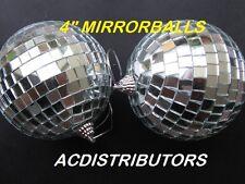 "4"" (10cm) Mirror Ball 2 Pk of Shiny Party Glass Disco Mirrorballs"