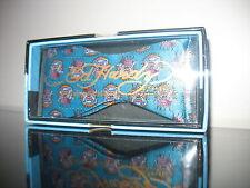 Turquoise Ed Hardy Silk Bowtie Bow Tie  Bulldog dog Christian Audigier MSRP $49
