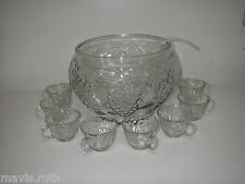 Indiana Glass CELEBRATION Clear 10 pc Punch SET Bowl 8-Cup Ladel w Original Box